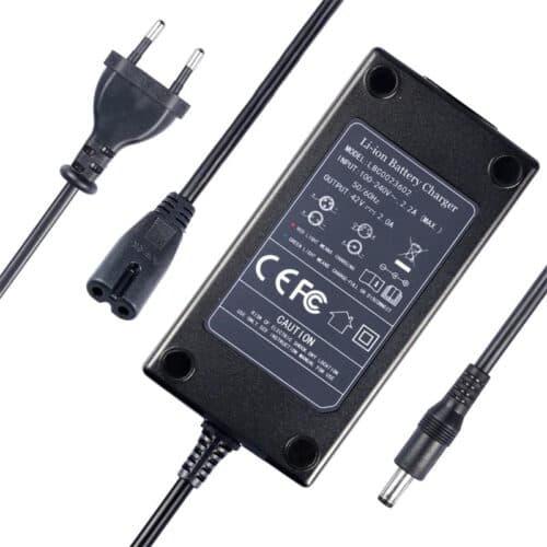 EU UK Li-ion Battery Charger DC Plug For 36V 48V E-bike Charger Input 110V-240V Output 54.6V 2.0A UNDERSIDE