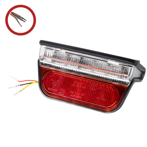 Universal Rear Light with Reflector and brake light function - 6V to 52V (NO Connector) MAIN